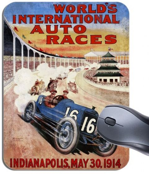 Indianapolis Auto Car Race 1914 Vintage Poster Mouse Mat. High Quality Mouse Pad